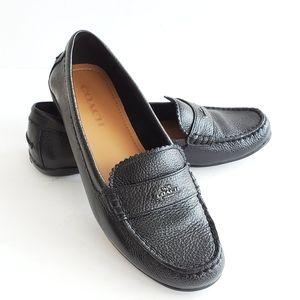 NWOT~Coach Odette Black Leather Grain Loafers